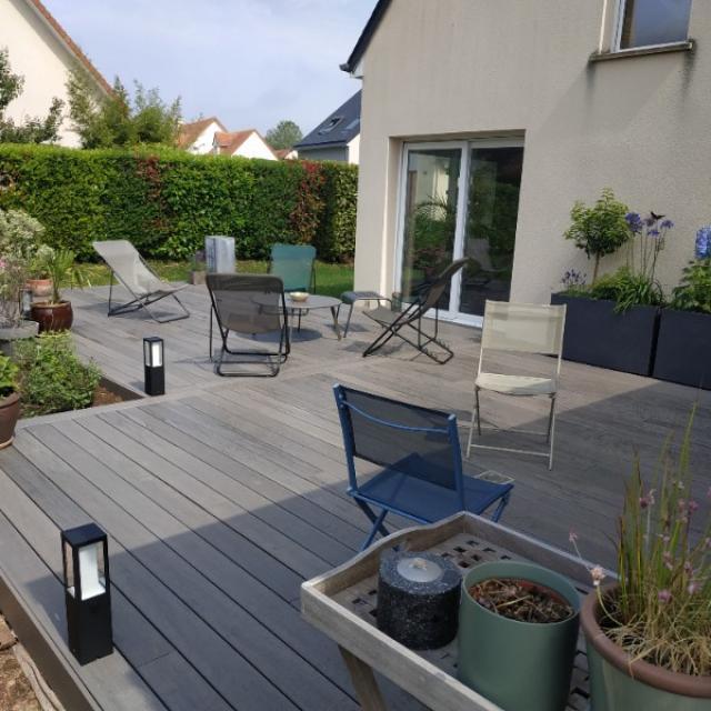 Réalisation d'une terrasse bois composite Timbertech garantie 30 ans